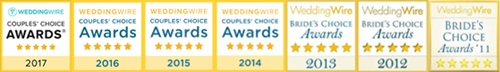 Janis Nowlan Band Awarded WeddingWire Couples' Choice Brides Choice 7th Year